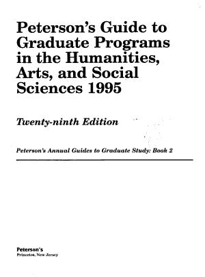 Peterson s Graduate Programs in the Humanities  Arts   Social Sciences PDF