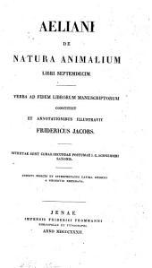 De natura animalium libri XVII: Τόμος 1