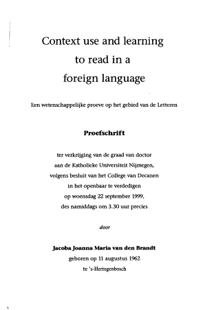 Context Use and Learning to Read in a Foreign Language PDF