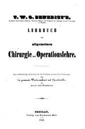Lehrbuch der allgemeinen Chirurgie und Operationslehre