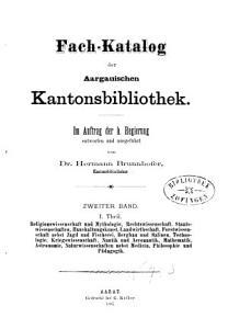 Fach Katalog der Aargauischen Katonsbibliothek PDF