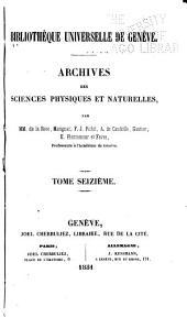 Archives des sciences physiques et naturelles: Volumes16à18