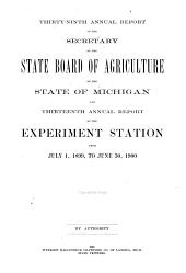 Annual Report of the Secretary of the State Board of Agriculture and Annual Report of the Experiment Station