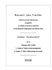Recueil Des Traites Index Cumulatif: Numéro41