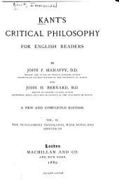 Kant's Critical Philosophy for English Readers: Volume 2