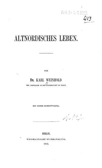 Altnordisches Leben PDF