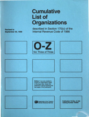 Cumulative List of Organizations Described in Section 170  c  of the Internal Revenue Code of 1986