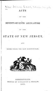 Acts of the General Assembly of the State of New-Jersey