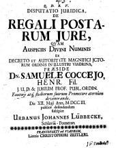 Disputatio Juridica, De Regali Postarum Jure
