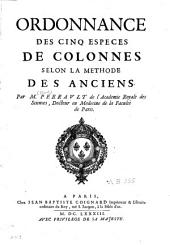Ordonnance des cinq espèces de colonnes selon la méthode des anciens
