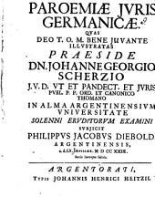 Paroemiae iuris Germanicae