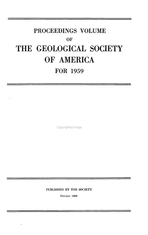 Proceedings of the Geological Society of America for PDF
