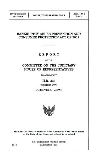 Bankruptcy Abuse Prevention and Consumer Protection Act of 2001 PDF