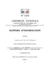 Rapport sur la mise en application de la loi n°2014-288 du 5 mars 2014 relative à la formation professionnelle, à l'emploi et à la démocratie sociale