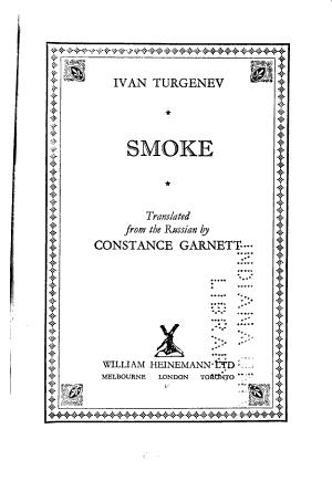 The Novels of Ivan Turgenev: Smoke. 1896