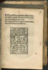 Expositio orationis dominicae, et sermo in vigilia nativit