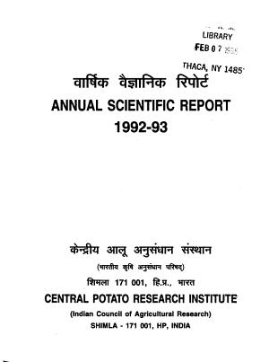 Scientific Report of the Central Potato Research Institute  Simla