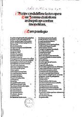 Accipe candidissime lector opera Divi Ioannis chrisostomi archiepiscopi constantinopolitani: Volume 1