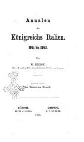 Annalen des Königreichs Italien: 1861 bis 1863. Das Ministerium Ricasoli