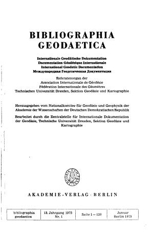 Bibliographia geodaetica PDF