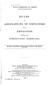 Rules of Associations of Employers and of Employed: Together with Introductory Memoranda