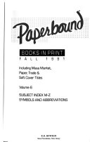 Paperbound Books in Print  Fall 1991  Subjects M Z  PDF