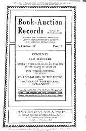 Book Auction Records: Volume 17