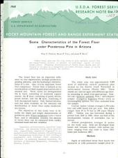 Some Characteristics of the Forest Floor Under Ponderosa Pine in Arizona