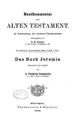 Handkommentar zum Alten Testament  In Verbindung mit anderen Fachgelehrten PDF