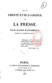 De la liberté et de la licence de la presse