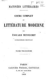 Cours complet de littérature moderne: 3
