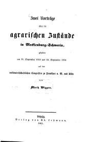 Zwei Vorträge über die agrarischen Zustände in Macklenburg-Schwerin