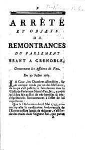 Arrêté et objets de remontrances du Parlement séant à Grenoble, concernant les affaires de Pau. Du 30 juillet 1765