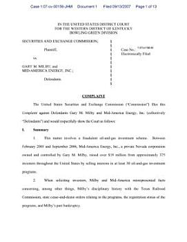 Gary M  Milby and MidAmerica Energy  Inc   Securities and Exchange Commission Litigation Complaint PDF