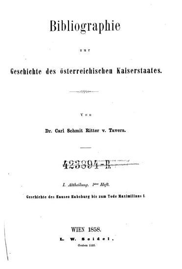 Geschichte des Hauses Habsburg bis zum Tode Maximilians I  PDF