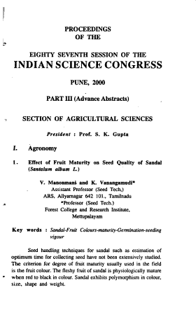 Proceedings of the Indian Science Congress PDF