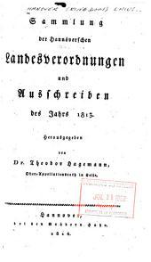 Sammlung der Hannöverschen Landesverordnungen und Ausschreiben. 1813-1814
