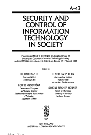 Security and Control of Information Technology in Society PDF