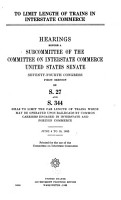 To Limit Length of Trains in Interstate Commerce PDF