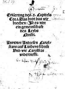 Erklerung des X  Capitels Cor  I  Das Brot das wir brechen  Ist es nitt ein gemeinschaft des Leybs Christi  Antwurt auf Luthers schrift und wie Carolstat widerriefft PDF