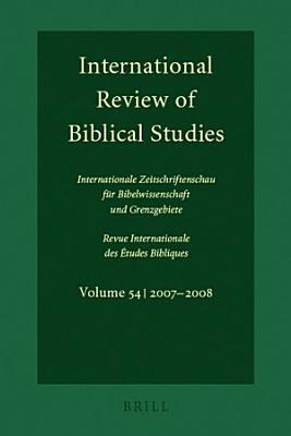 International Review of Biblical Studies  Volume 54  2007 2008  PDF