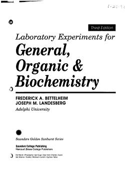 Laboratory Experiments for General  Organic   Biochemistry PDF