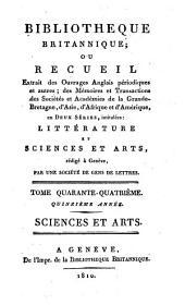 Bibliothèque britannique: Sciences et arts
