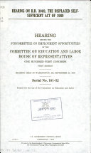 Hearing on H.R. 3069, the Displaced Self-Sufficient Act of 1989
