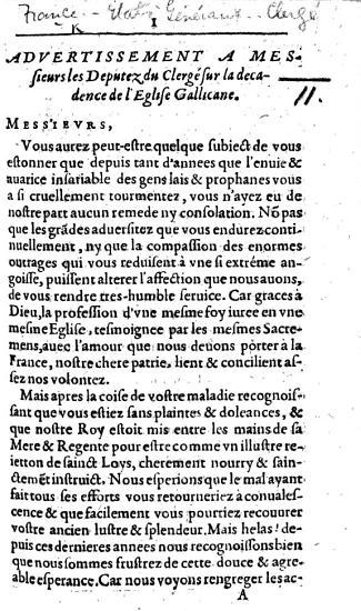 Advertissement a Messieurs les Deputez du Clerg   sur la d  cadence de l   glise Gallicane PDF