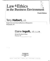 Law   Ethics in the Business Environment