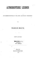 Althochdeutsches Lesebuch: zusammengestellt und mit Glossar Versehen