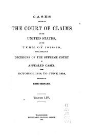 Cases Decided in the Court of Claims of the United States: Volume 54