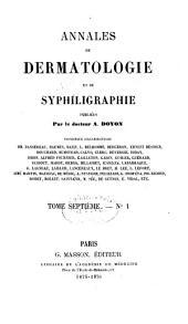 Annales de dermatologie et de syphiligraphie: Volume7
