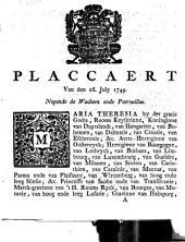 Placcaert van den 26. July 1749. Nopende de wachten ende patrouillen